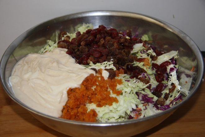 Coleslaw With Dried Cranberries, Raisins And  Apricots 006