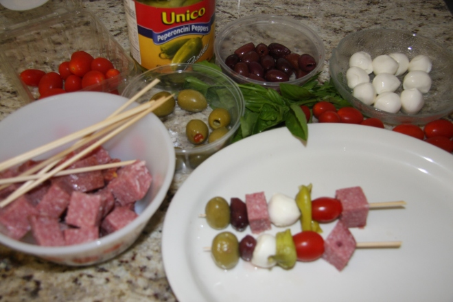 Brocolli Salad, Procuitto Sticks, Salami Sticks 015