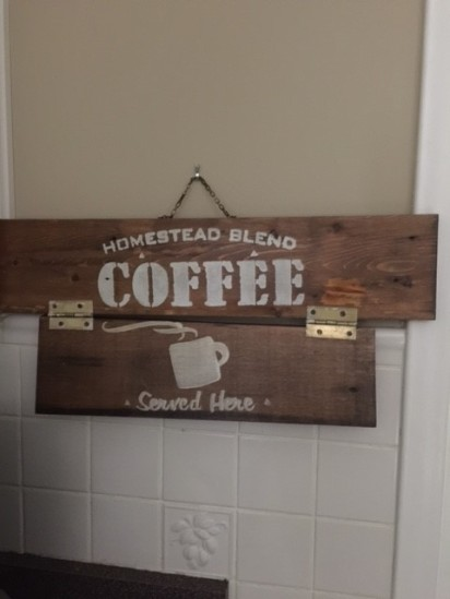 2 pieces of wood coffee sign